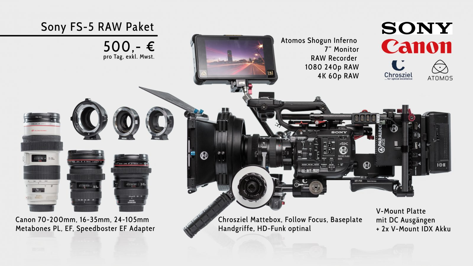 Sony FS-5 RAW Paket + Inferno
